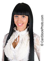 Portrait of the lovely brunette. Isolated on white
