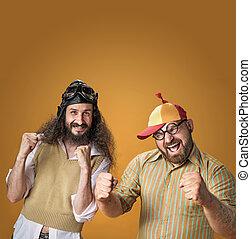 Portrait of the odd, eccentric guys - isolated - Portrait of...