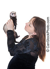 woman with a domestic polecat