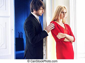 Portrait of the quarrelsome couple