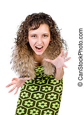 Portrait of the shouting girl isolated on a white background