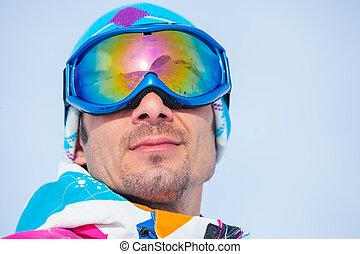 Portrait of the ski goggles