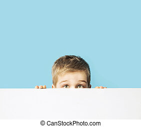 Portrait of the small shy boy - Portrait of the small shy...