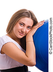 smiling women with the big blue ball