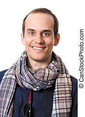 Portrait of the successful young guy with a scarf