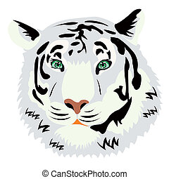 Portrait of the tiger on white background