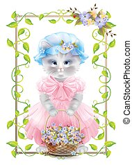 Portrait of the vintage cat with basket. Birthday card. Holiday congratulation. Greeting card. Frame with ivy and violets.