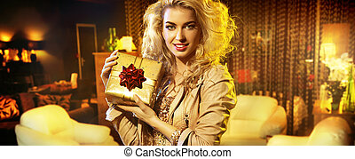 Portrait of the woman with a gift