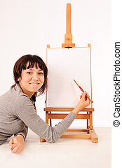 young drawing girl