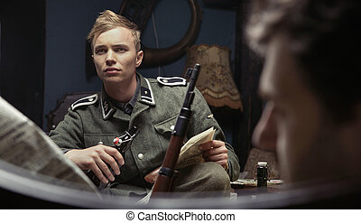 Portrait of the young german soldier - Portrait of the...