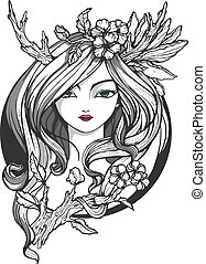 Portrait of the young girl with flowers and stilized horns. Illustration for tattoo, art or t-shirt print.
