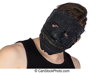 Portrait of the young man in mask