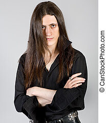 young man with long hair