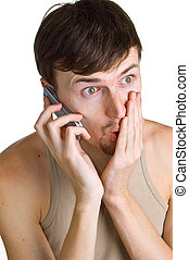 young shocked men with cellular phone