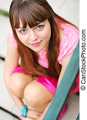 young smiling blue-eyed girl
