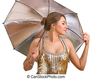 women in golden dress with a silver umbrella