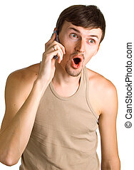young surprised men with cellular phone
