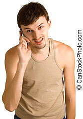 young talking men with cellular phone