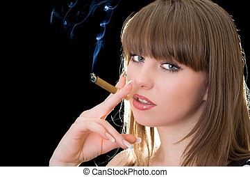 Portrait of the young woman with a cigar
