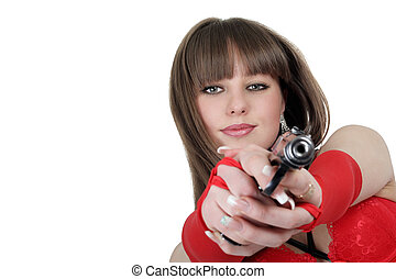 Portrait of the young woman with a pistol