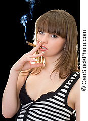 Portrait of the young woman with a cigar. Isolated