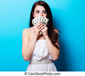 portrait of the young woman with money