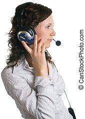 young women in headphones