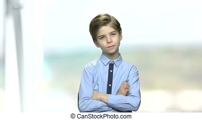 Portrait of thoughtful little boy.
