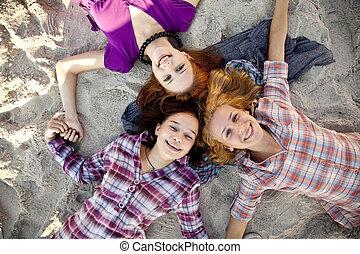 Portrait of three beautiful girls.