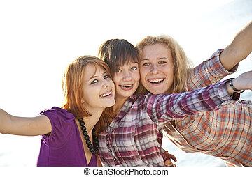 Portrait of three beautiful girls