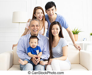 Portrait Of Three Generation asian Family