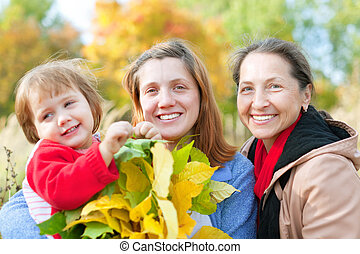 Portrait of three generations women