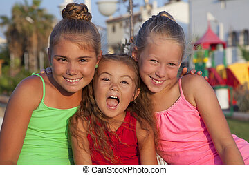 Portrait of three little girls