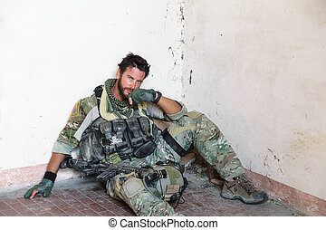 Tired American Soldier