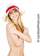 topless girl in beach hat