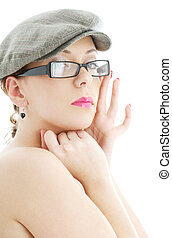 topless lady in black plastic eyeglasses and cap - portrait...