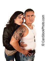 Tough Hispanic Couple - Portrait of Tough Hispanic Couple in...