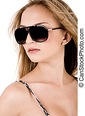 Portrait of trendy women with black sunglasses