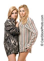Portrait of two beautiful young women