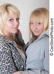 two blonde friends