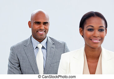 Portrait of two ethnic business people