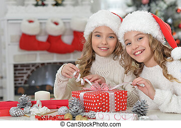 Portrait of two girls with Christmas gift