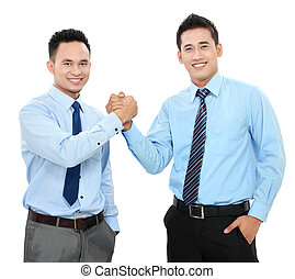 business men shaking hands - Portrait of two happy business...