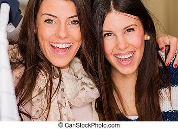 Portrait Of Two Happy Friends