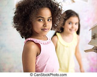 Portrait of two little girls