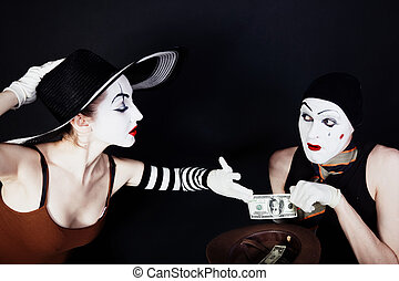 Portrait of two mimes