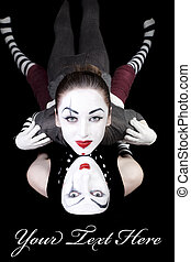 two mimes on black background