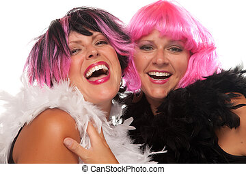 Portrait of Two Pink And Black Haired Smiling Girls with...