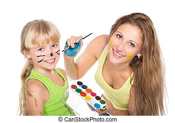 Portrait of two playful girls