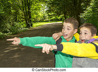Portrait of two surprised boys, tweens are pointing and...
